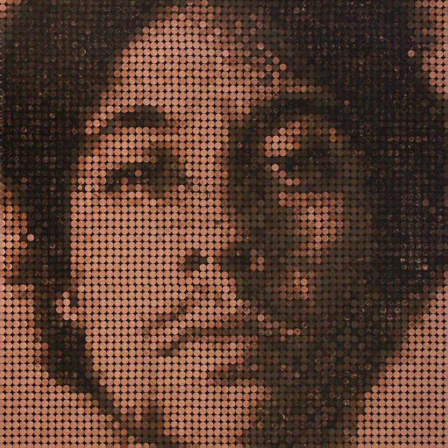 Darian Mederos self portrait on pennies