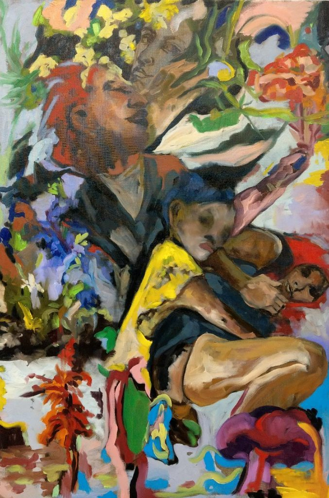 A colorful abstract painting with people holding on to each other
