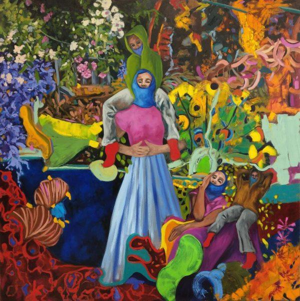 IN IHREM GARTEN, 180 x 180 cm, Öl auf Leinwand, 2019