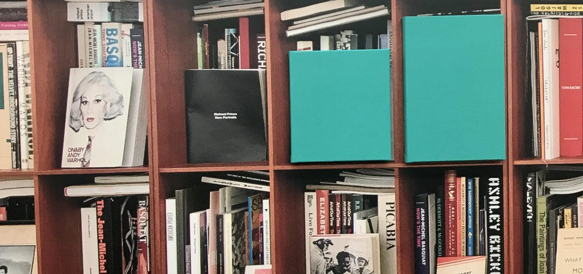 Detail of Claude Rutault's Bookshelves (A Portait From Afar), 2019