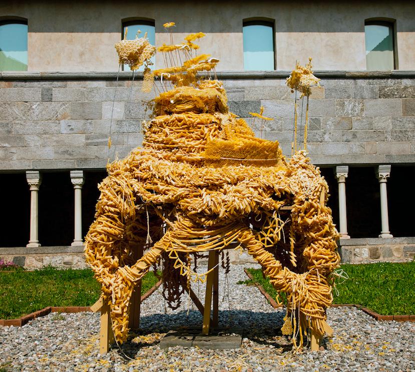 """M.A.P."" 2011, 250kg pasta, wood, silicone,glue string Courtesy the artist and Ileana Tounta Contemporary Art Center"