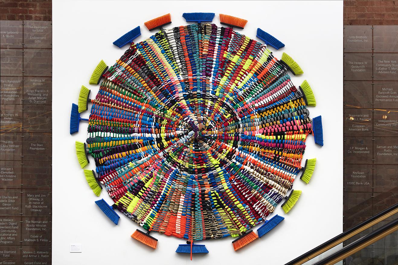 """W.O.T.F. (Wheel of Fortune Triumph)"", 2018, Magic broomsticks, Fabric Photo Credit: Kostas Sahpazis"