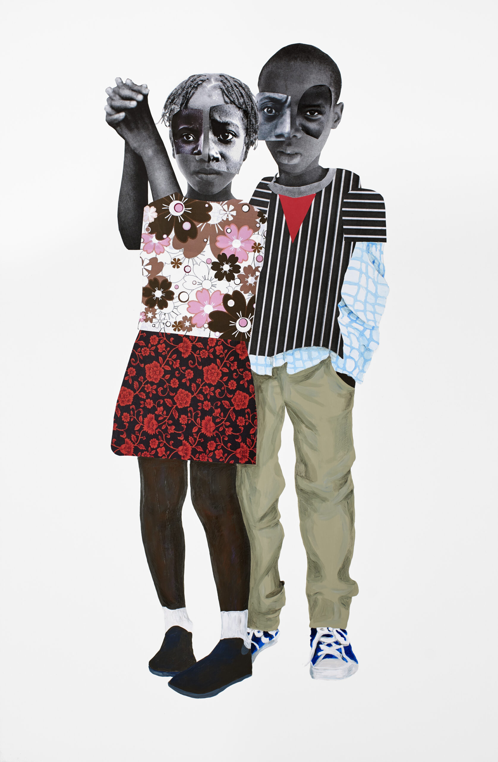 Our destinies are bound 2018, 58 x 38 inches, Mixed media collage on panel Private Collection Copyright Deborah Roberts. Courtesy of the artist, Susanne Vielmetter Los Angeles Projects, CA