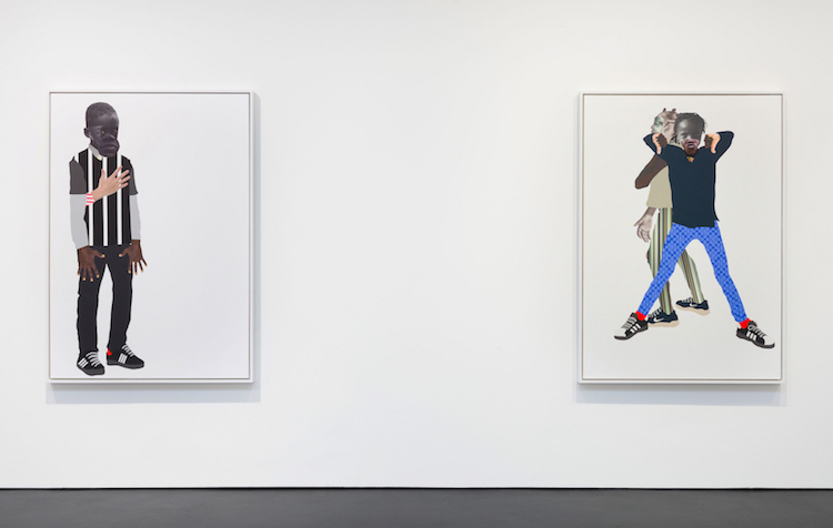Installation Image of If They Come Solo Exhibition, Stephen Friedman Gallery, London Left to Right : Ulysses 2019, 65 x 45 inches, Mixed media collage on linen, ICA Boston Collection ; Rebels 2019, 65 x 45 inches, Mixed media collage on canvas, Private Collectio