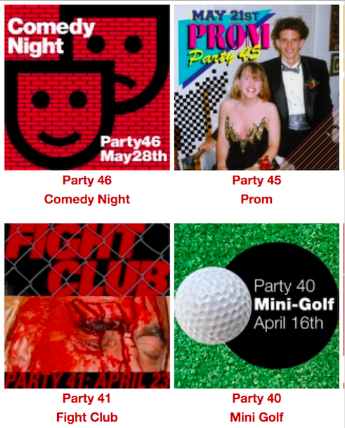Invitations to some of the 50 parties in 50 Day Themes