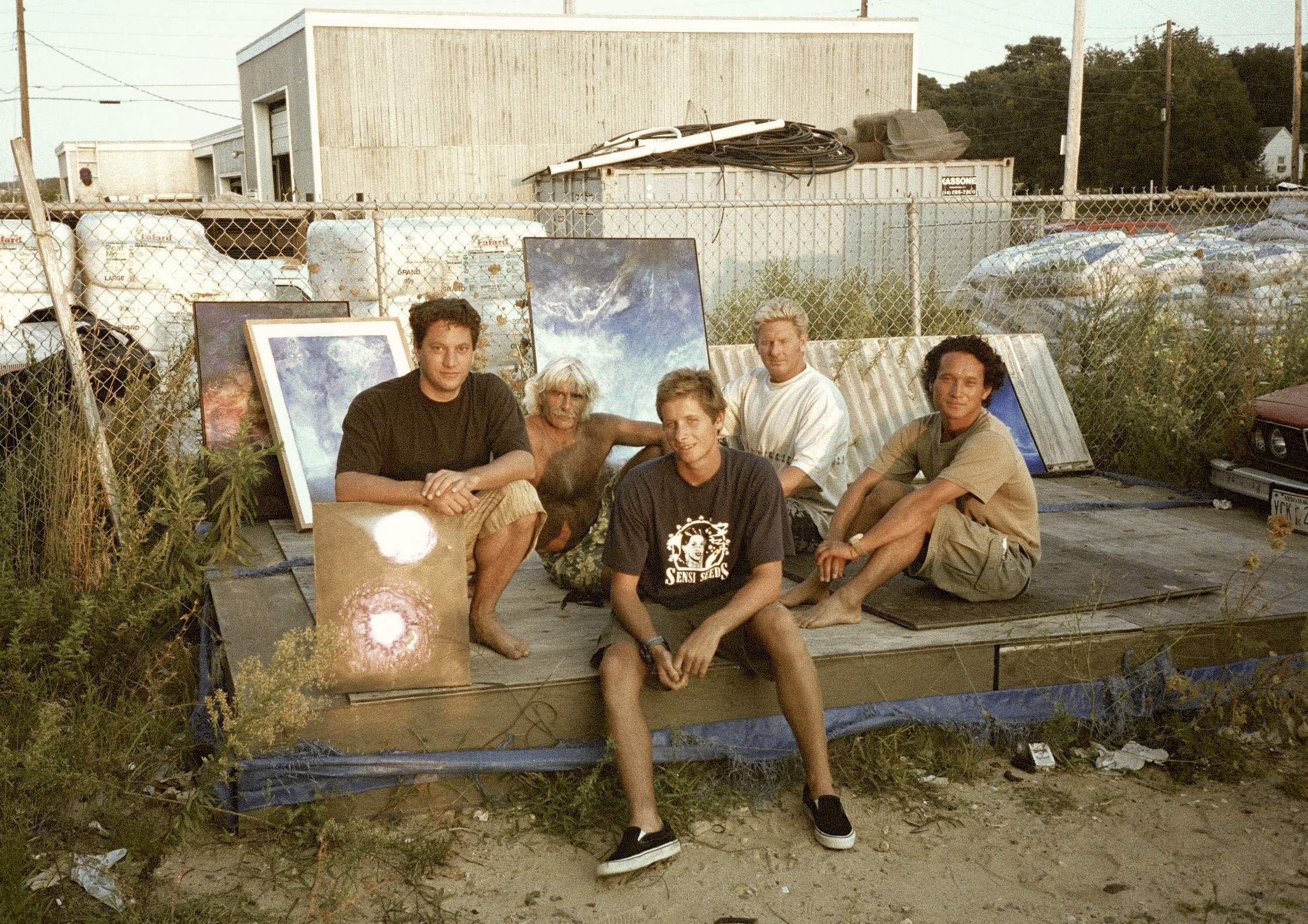 Andy Moses and friends in Montauk (Tony Caramanico, Joel Tudor, John Tunney, Takuji Matsuda) by Art Brewer, '97