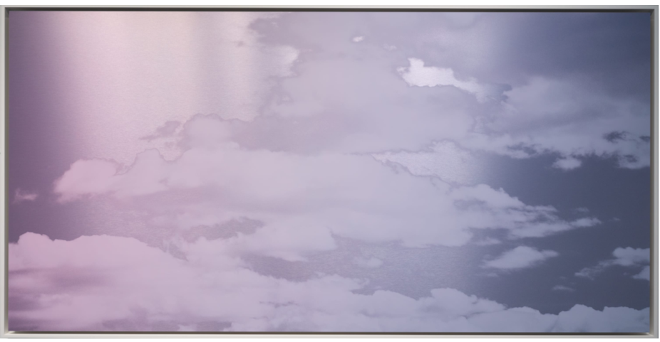 Unkai (Sea of Clouds) Faint Pink Lilac 2020 ink and dye on aluminum composite 50 x 98 x 2.25 in