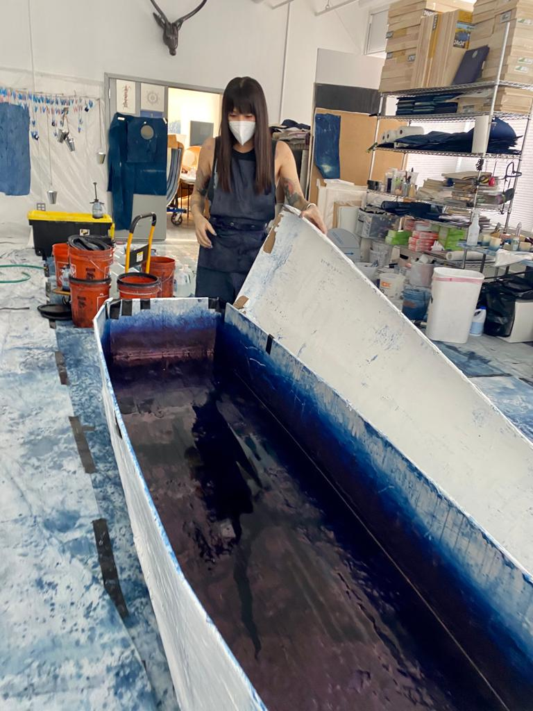 A Large Vat of pure indigo 'fermenting' in the studio of Miya And in Long Island City Photo Courtesy of: Gregory de la Haba