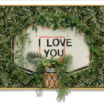CARLOS ROLÓN Untitled (I Love You), 2020 Repurposed carpet, found basketball backboard, ceramic mirror, glass, artificial vegetation and gold leaf on wood 63 1/2 x 47 1/2 x 14 1/2 inches 161.3 x 120.7 x 36.8 cm (MMG#33315) Courtesy of the artist and Salon 94, New York
