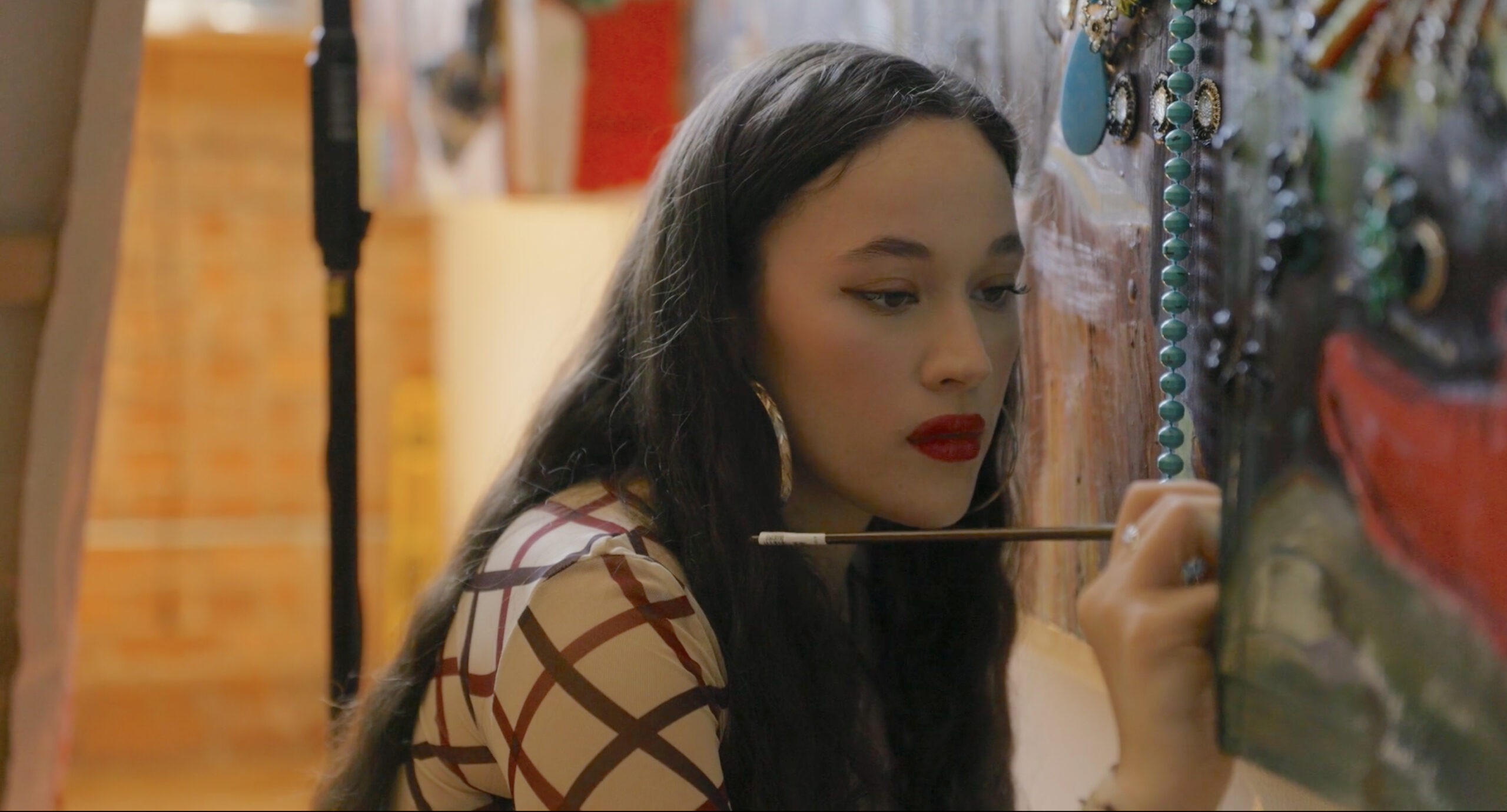 Artist Gisela McDaniel as seen in Kelcey Edwards' documentary The Art of Making It! Image courtesy of Wischful thinking Productions